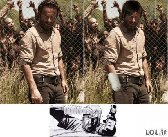 """Kaip turėtų atrodyti """"Walking Dead"""" veikėjai, jei viskas būtų pagal komiksą"""