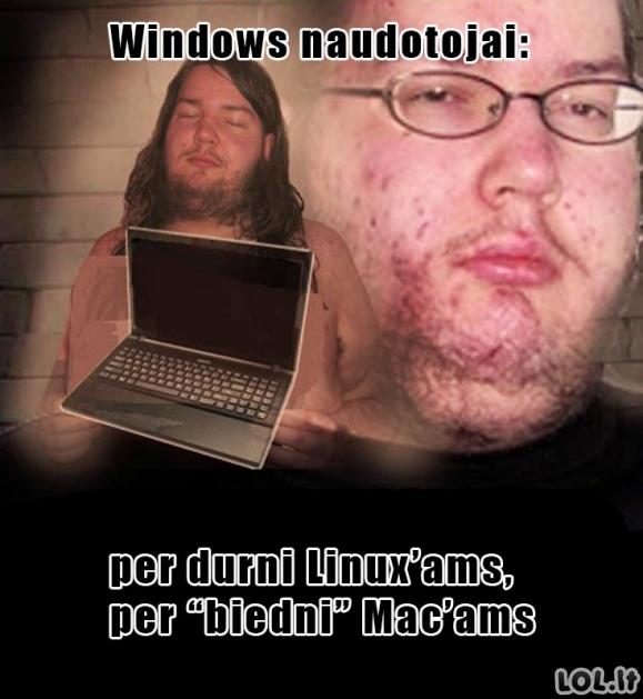 Windows naudotojai pagal Geekus