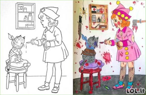 Kai spalvinimo knygutę paima suaugusieji