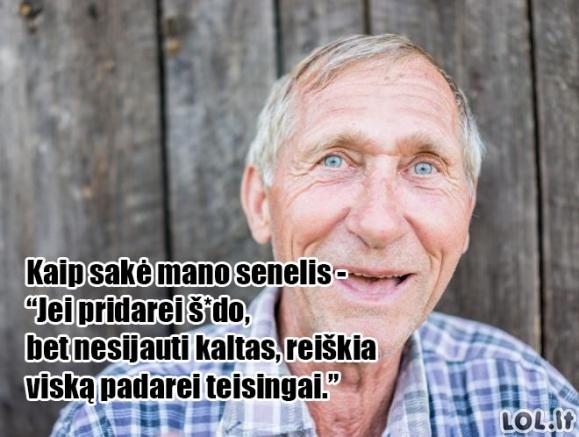 Teisingas senelio patarimas
