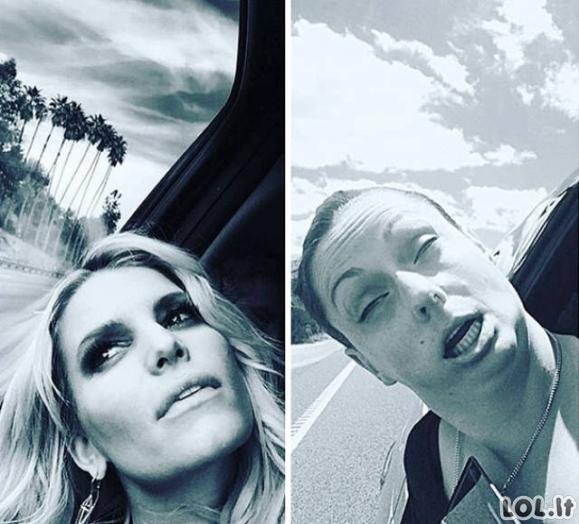 Mergina atkartojo žvaigždžių Instagramo nuotraukas