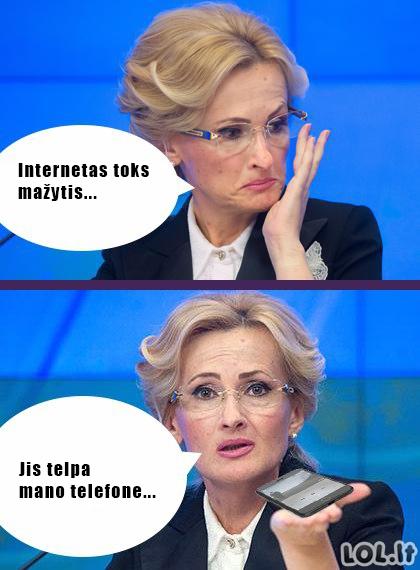 Interneto dydis pagal blondinę