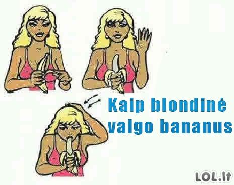 Bananai + blondinė