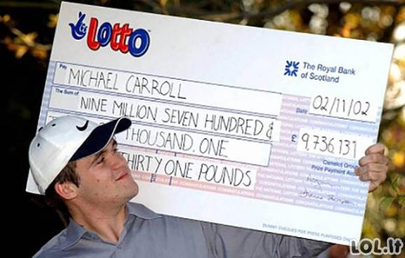 Kaip per 10 metų iššvaistyti loterijos milijonus?