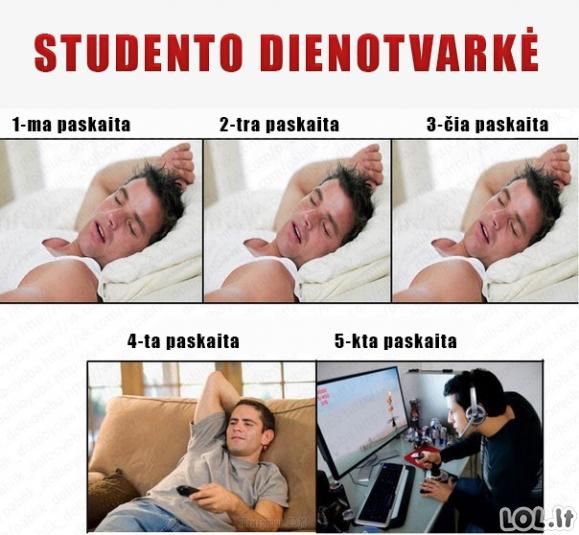 Studento dienotvarkė