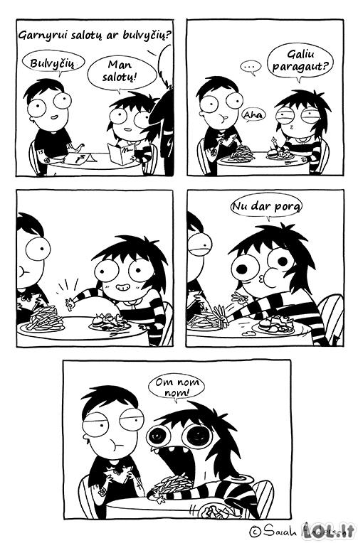 Tipinis merginos elgesys kavinėje