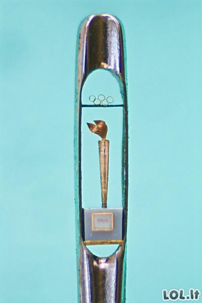 Miniatiūros adatos skylutėje