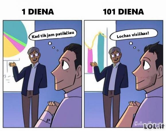 1-a ir 101-a diena darbe [6 skirtumai]