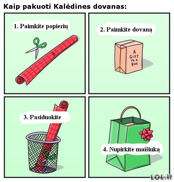 Labai paprastas dovanų pakavimo būdas