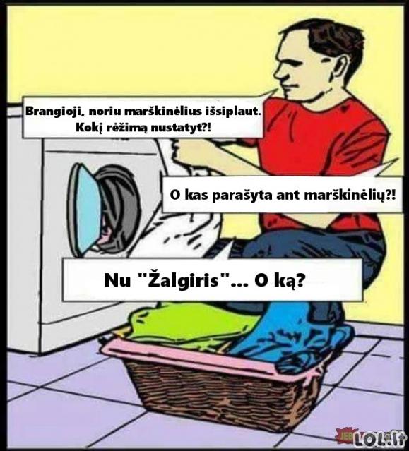 Kai vyras nusprendžia pats skalbti