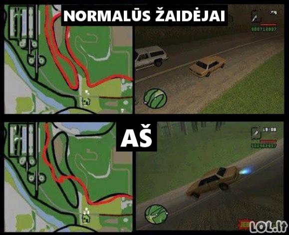 Mano vairavimo ypatumai GTA žaidime