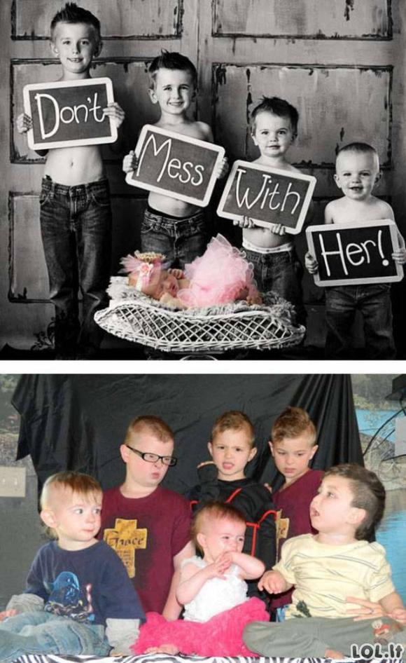 Kai bandai atkartoti profesionalių fotografų nuotraukas su vaikais