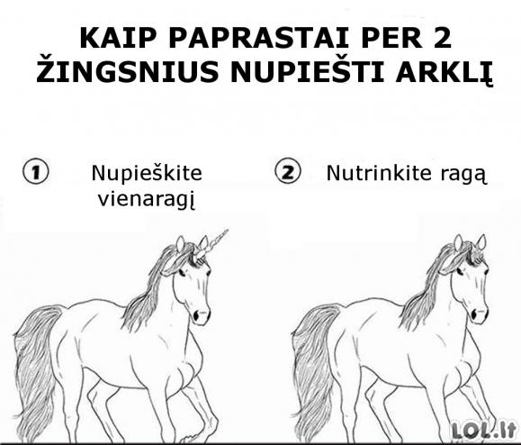 Arklio piešimas paprastai