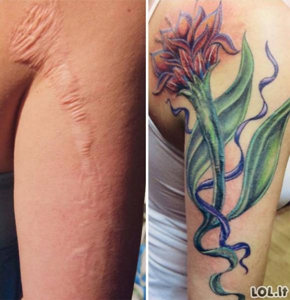 Kaip bjaurius randus pataisyti tatuiruotėmis
