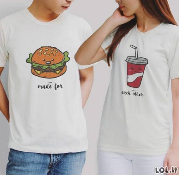 Labai smagūs marškinėliai, kurie vieni kitus papildo