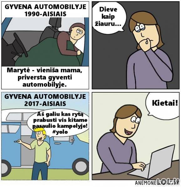 Gyvenimas automobilyje anksčiau ir dabar