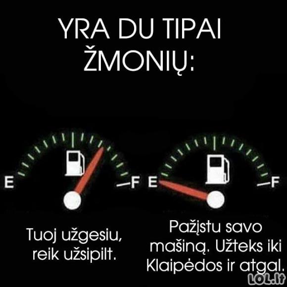 Du vairuotojų tipai