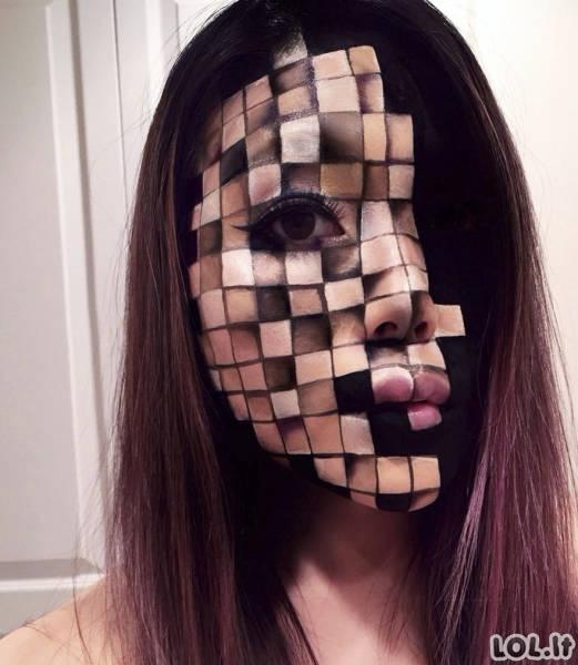 Įspūdingos optinės apgaulės ant veido