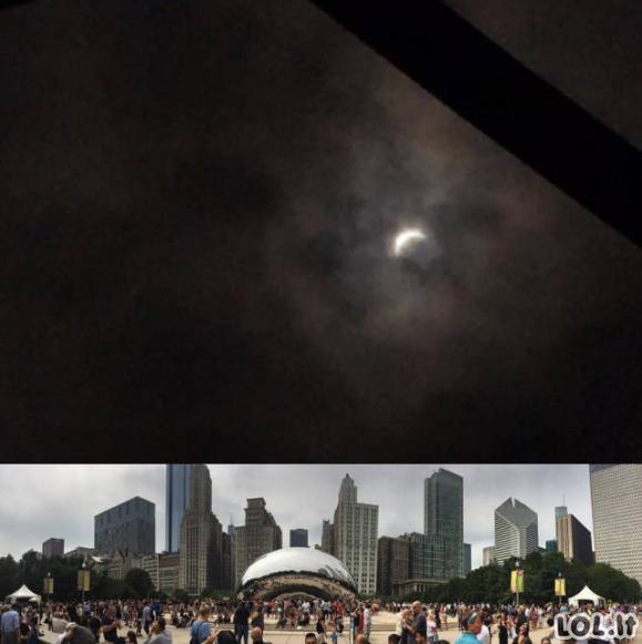 Vaizdai iš saulės užtemimo JAV