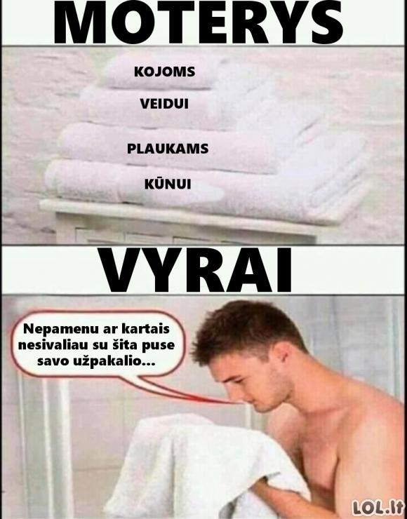 Kaip vyrai ir moterys naudojasi rankšluosčiais