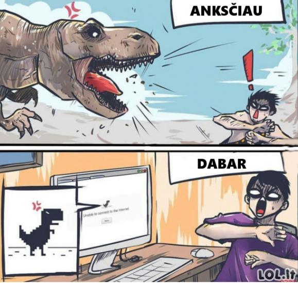 Dinozaurų baimė anksčiau ir dabar