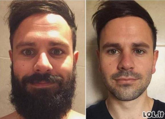 Barzdos: prieš ir po