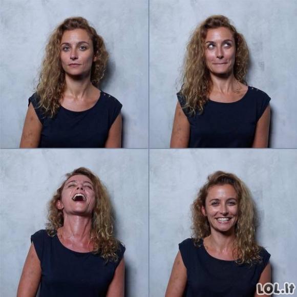 Moterų veidai prieš, per ir po orgazmo
