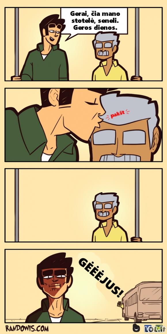 Kai senelis mėgsta ant tavęs pastumti