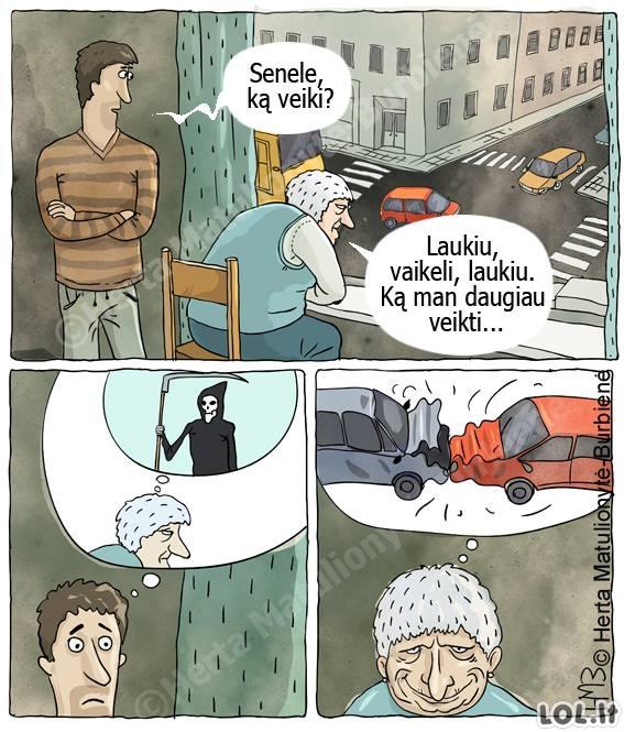 Močiutė laukia