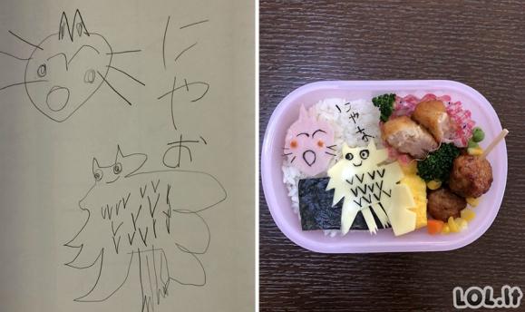 Vienas japonas gamina maistą pagal savo sūnaus piešinius [25 paveikslėliai]