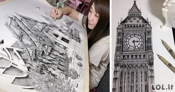 Japonė piešia nerėgėto detalumo paveikslus