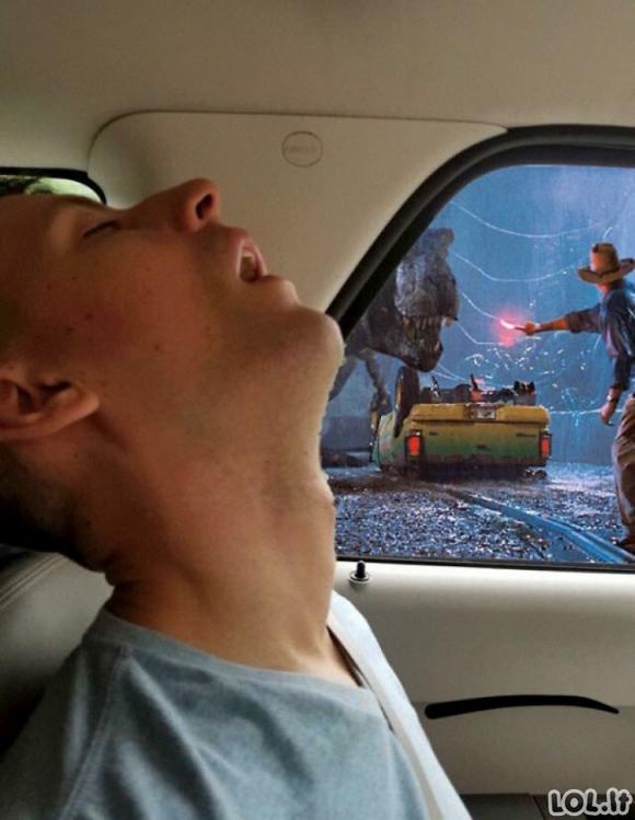 Miegantis vaikinas automobilyje tapo fotošopo iššūkiu