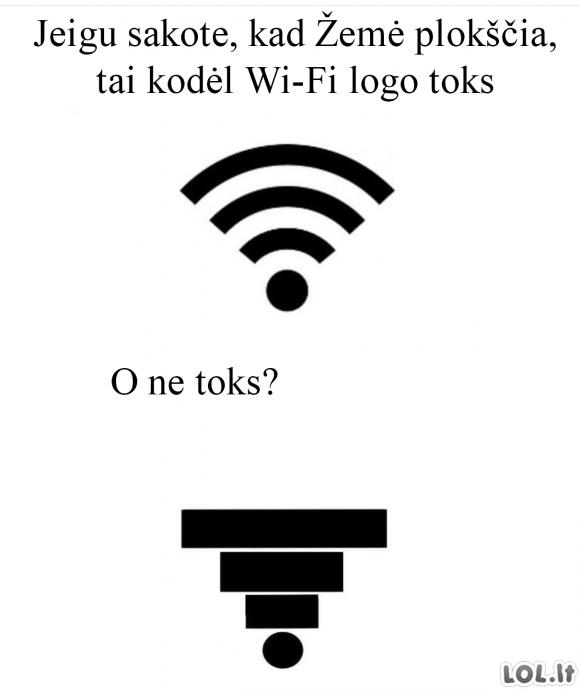 Jeigu žemė plokščia, kodėl Wi-Fi ženkliukas toks?
