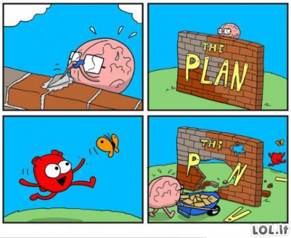 Širdis sugriaus visus planus