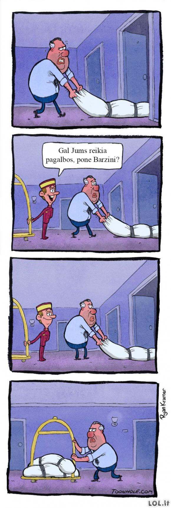 Paslaugus viešbučio darbuotojas