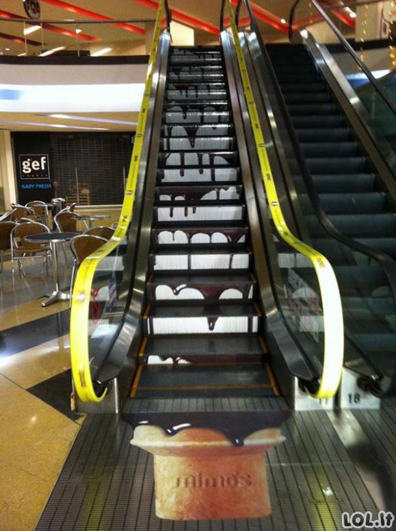 Slenkantys laiptai, puikiai išnaudoti marketingistų (26 paveikslėliai)