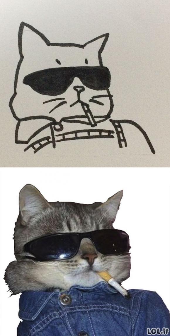 Mokytoja sakė, kad berniukas nemoka piešti kačių, bet tokios katės egzistuoja iš tikrųjų (26 foto)