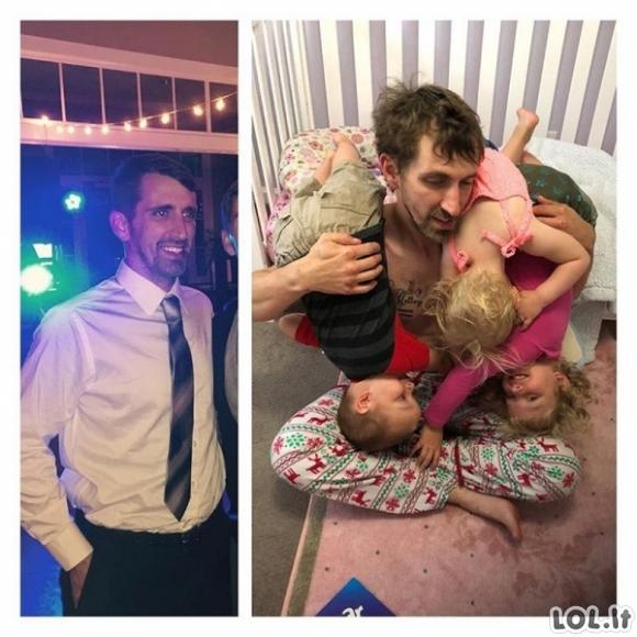 Viską pasakančios nuotraukos, padarytos prieš ir po vaiko atsiradimo (20 nuotraukų)