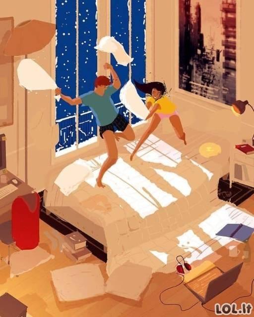 Iliustracijos, parodančios kaip pasikeitė gyvenimas susituokus