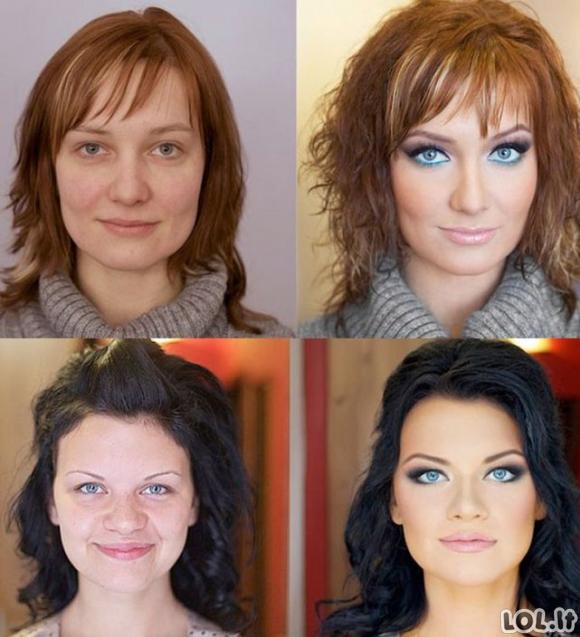 Kaip makiažas pakeičia merginų išvaizdą [31 nuotrauka]
