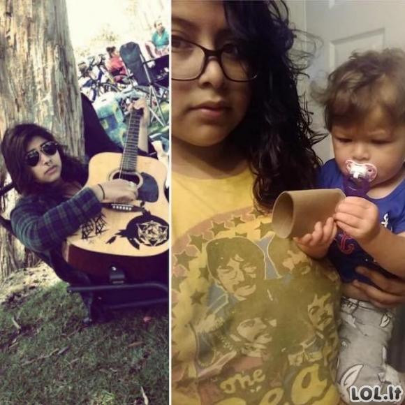 Tėvų nuotraukos prieš ir po vaikų [GALERIJA]