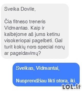 Fitneso trenerio žinutė