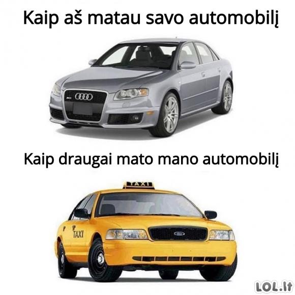 Kai turi automobilį