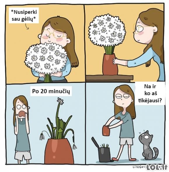 Kai mergina nusiperka sau gėlių