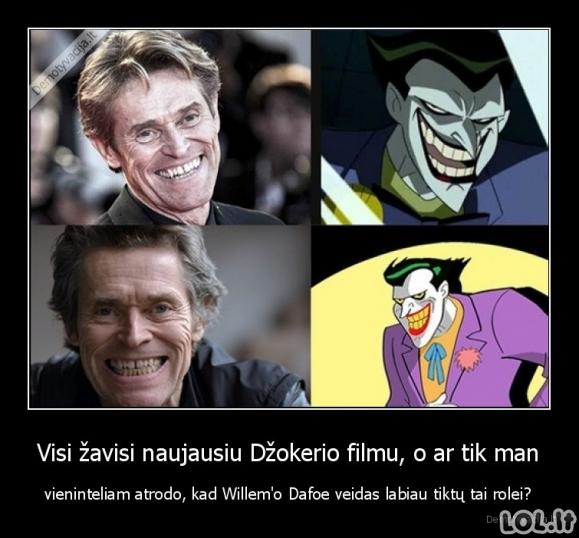 Willem'o Dafoe veidas Džokerio rolėje