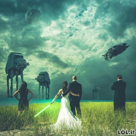 """Pora, kuri susituokė pagal detalėmis paruoštą """"Žvaigždžių karų"""" tematiką"""