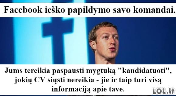 Facebook ieško naujų darbuotojų