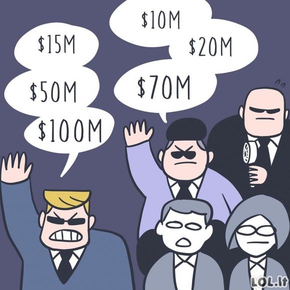 Dviejų turtuolių susirėmimas aukcione