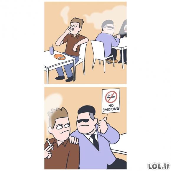 Žiaurus atpratinimas nuo rūkymo restorane
