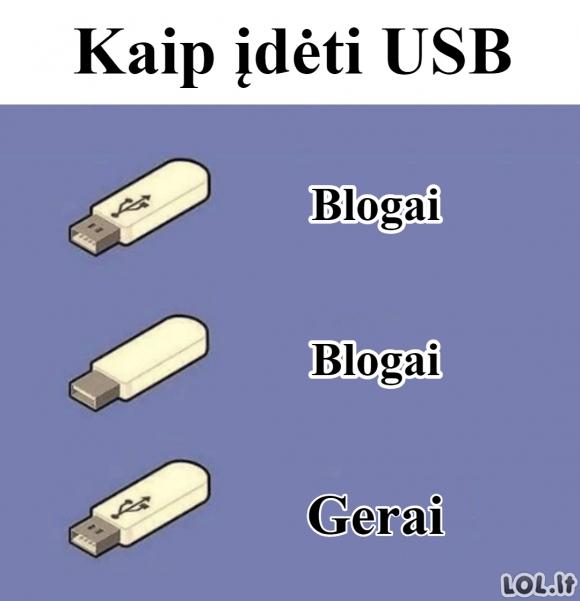 USB įdėjimas
